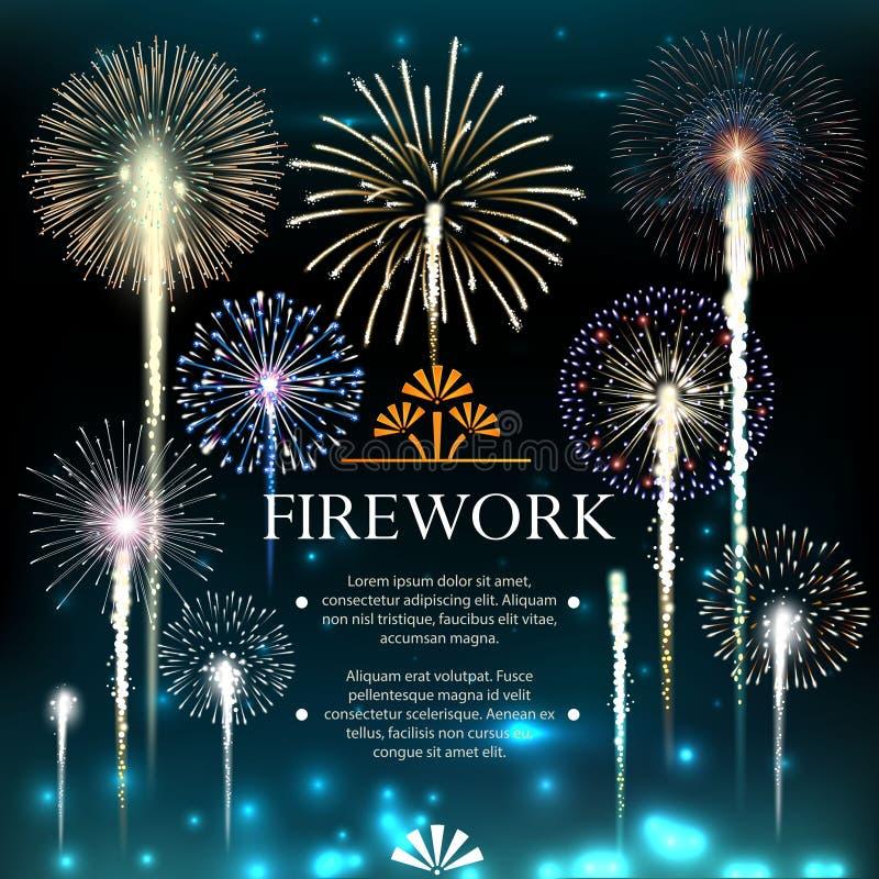 Satz Feuerwerke, festliche Fahne, Einladung zu einem Feiertag vektor abbildung