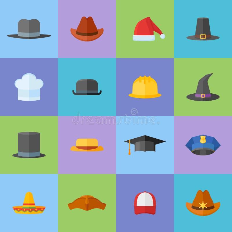 Satz flache Artikonen der verschiedenen Hüte stock abbildung