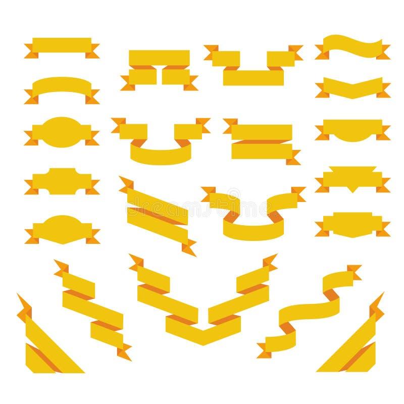 Satz flache Bänder. Origami angeredet vektor abbildung