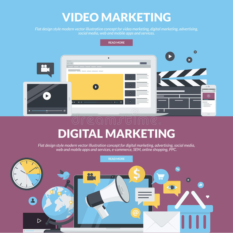 Satz flache Designartfahnen für Internet-Marketing