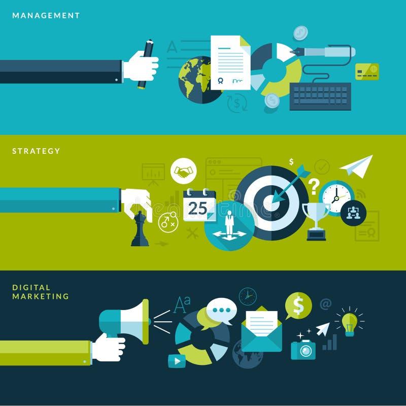Satz flache Designillustrationskonzepte für Management, Strategie und digitales Marketing lizenzfreie abbildung