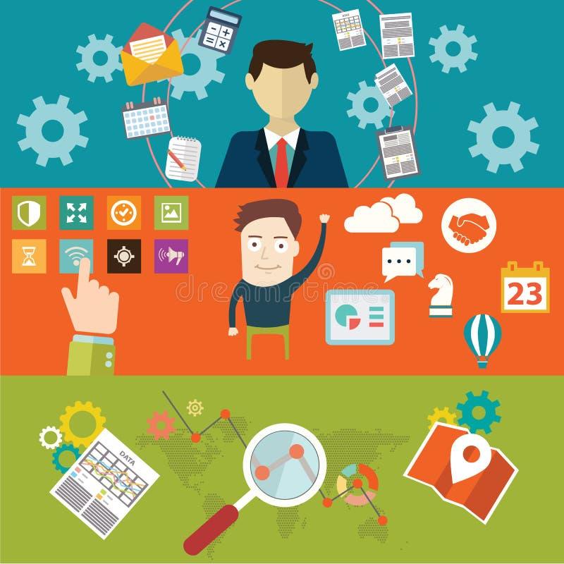 Satz flache Designvektor-Illustrationskonzepte für Websiteplan, Handydienstleistungen und apps, Computertablette lizenzfreie abbildung