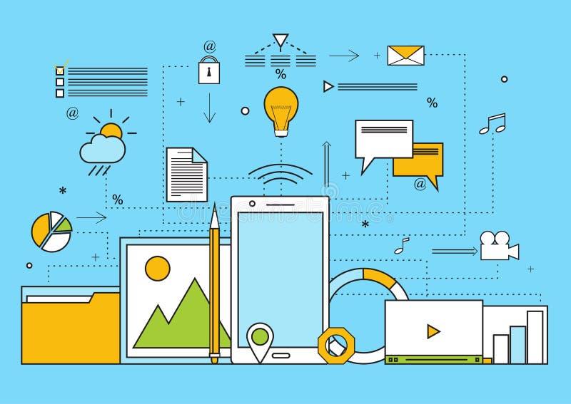 Satz flache Elemente für kreatives Prozesskonzept, Idee, Website stock abbildung