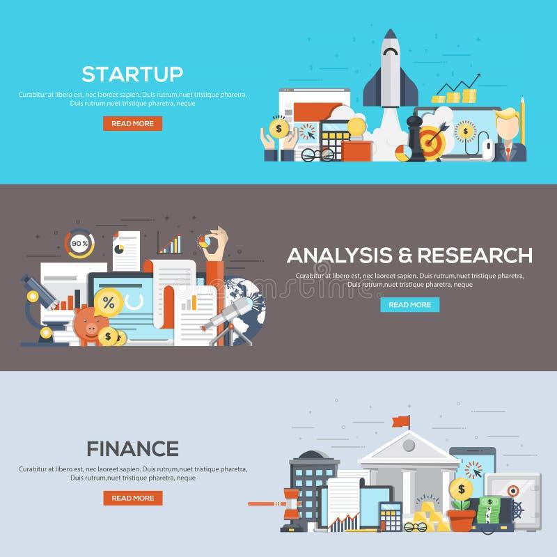 Satz flache Farbdesign-Netzfahnen für Start, Analyse lizenzfreie abbildung