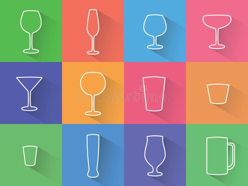 Satz flache Ikonen der Gläser, der Weingläser und der Schalen lizenzfreie stockbilder