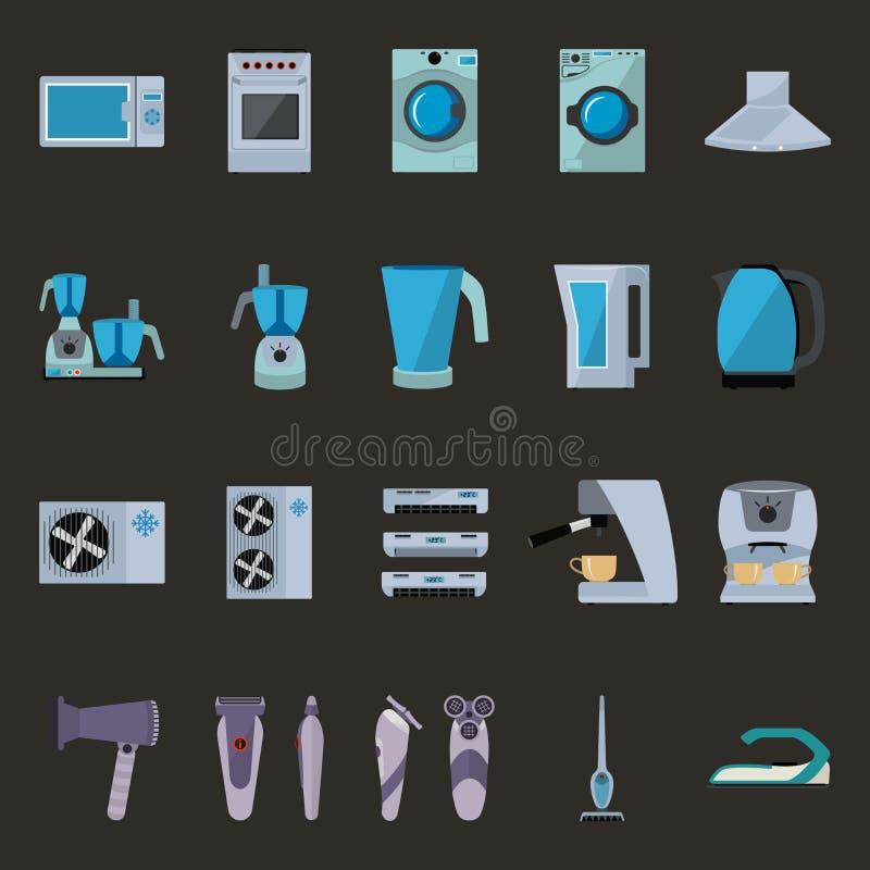 Satz flache Ikonen der Haushaltsgeräte stock abbildung