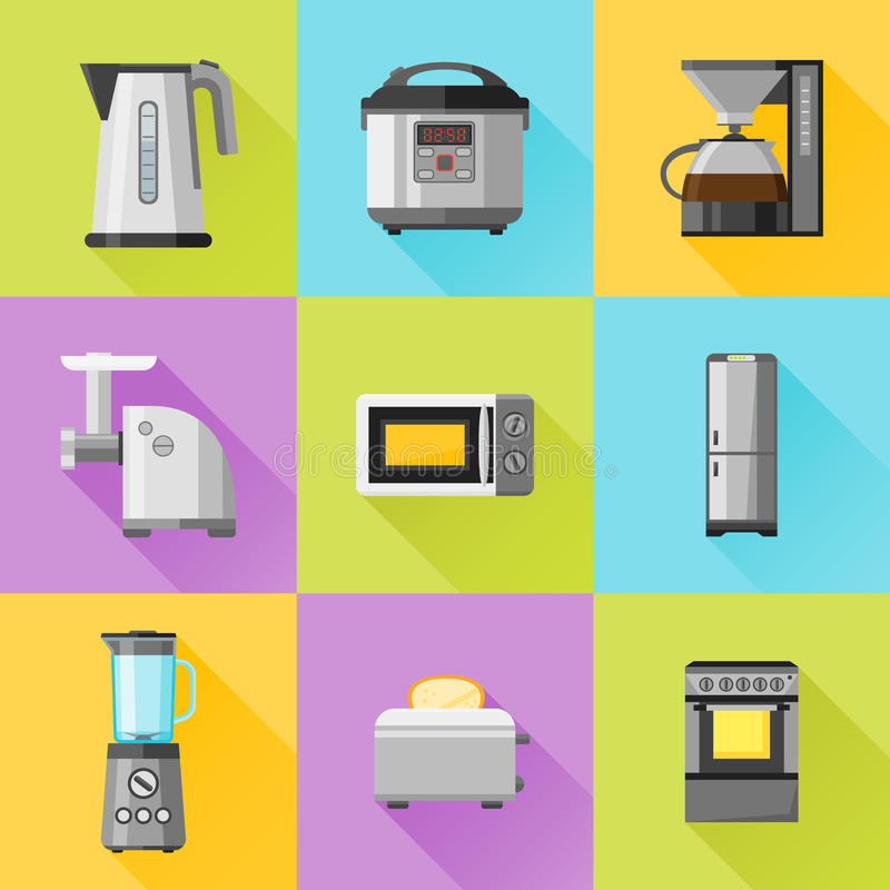Satz flache Ikonen der Haushaltsgeräte lizenzfreie abbildung