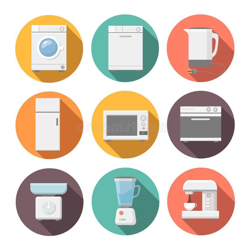 Satz flache Ikonen der Haushaltsgeräte auf buntem stock abbildung