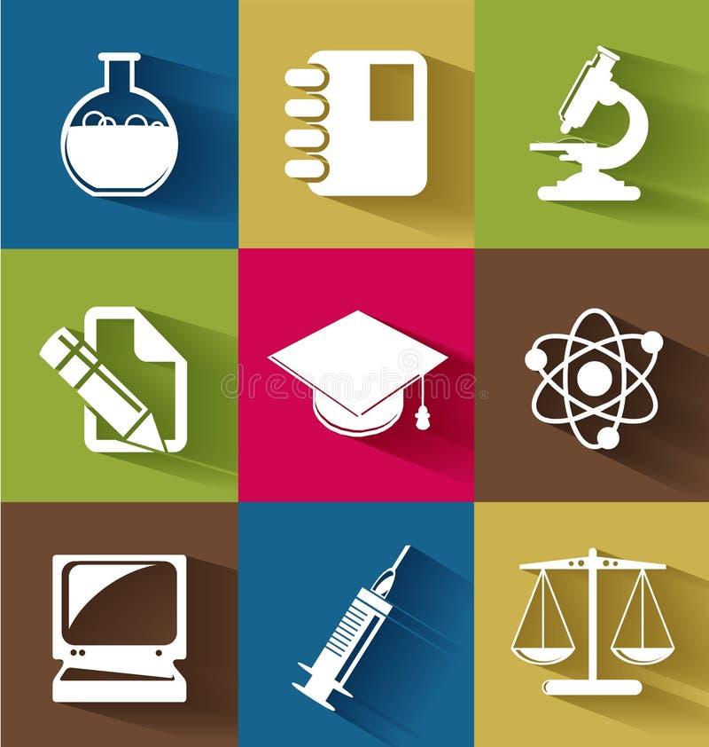 Satz flache Ikonen der Wissenschaft und der Bildung vektor abbildung