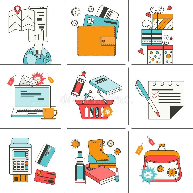 Satz flache Ikonen für das on-line-Einkaufen lizenzfreie abbildung