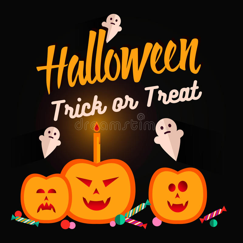 Satz flache Ikonen Halloweens stock abbildung