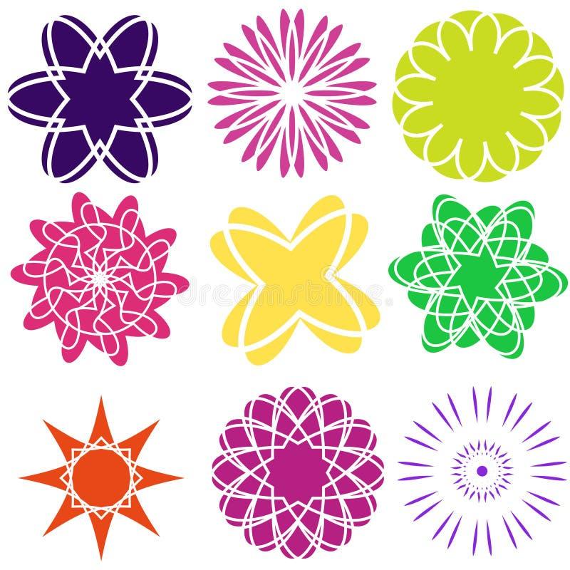 Satz flache Ikonenblumenikonen im Schattenbild lokalisiert auf Weiß Nettes Retro- Design in den hellen Farben für Aufkleber, Aufk stock abbildung