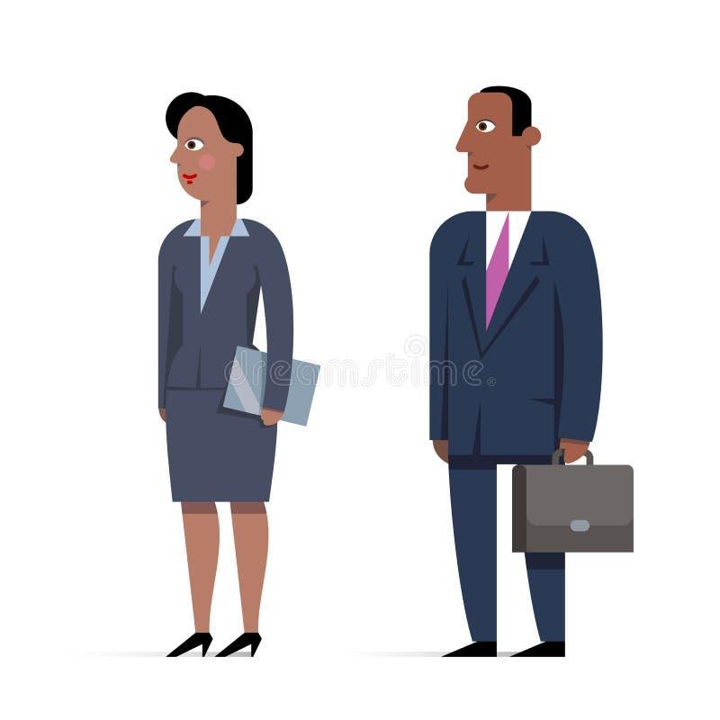 Satz flache Illustrationen des Geschäftsmanncharakters Mann mit briefc stock abbildung