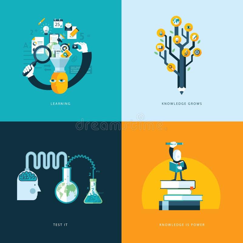 Satz flache Konzept- des Entwurfesikonen für Bildung lizenzfreie abbildung