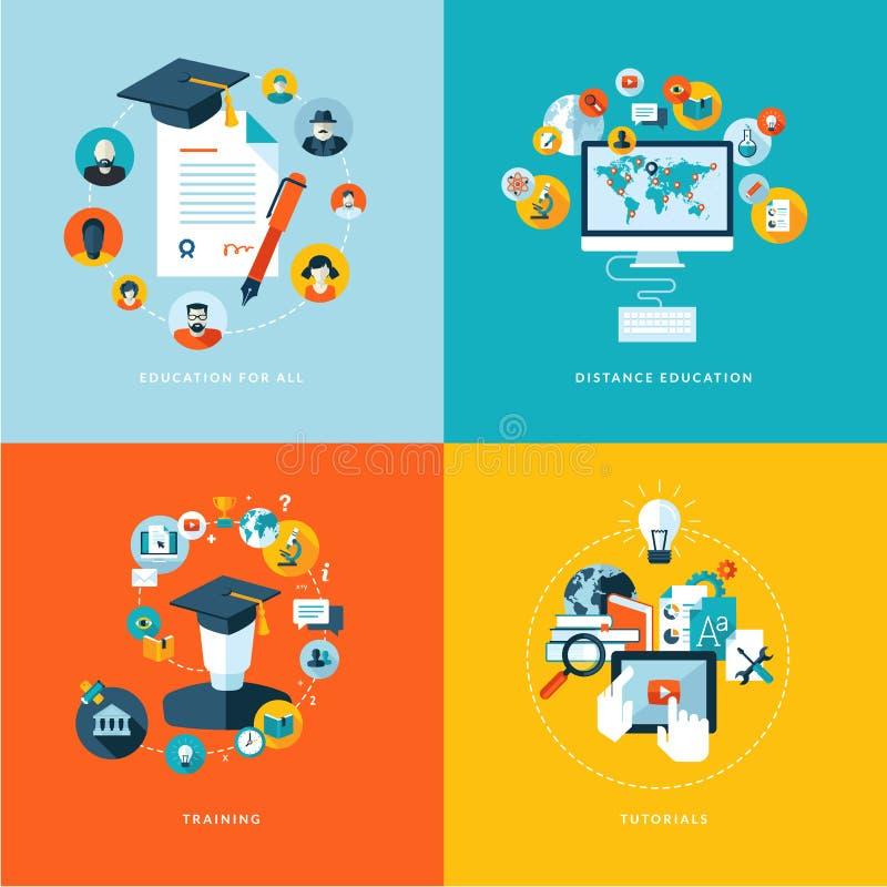 Satz flache Konzept- des Entwurfesikonen für Bildung stock abbildung
