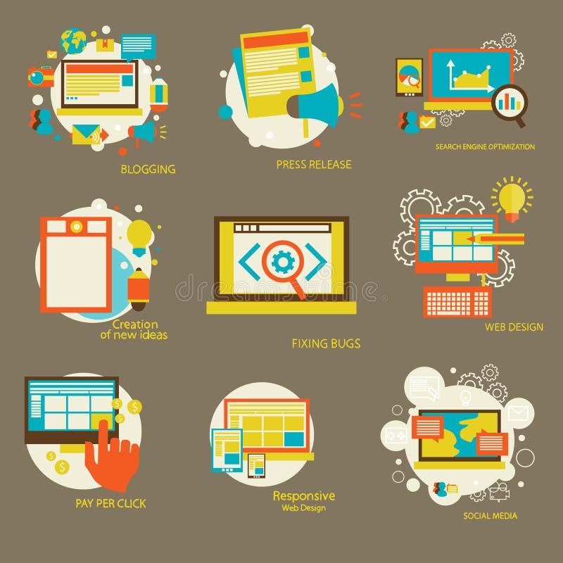 Satz flache Konzept- des Entwurfesikonen für Netz lizenzfreie abbildung