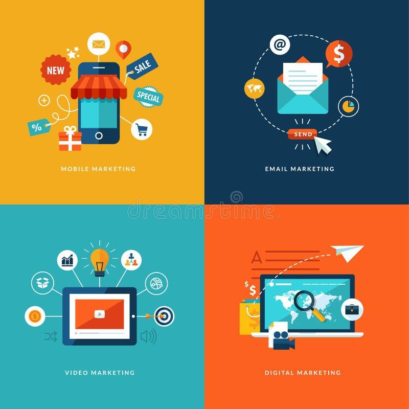 Satz flache Konzept- des Entwurfesikonen für Netz- und Handydienstleistungen und apps lizenzfreie abbildung