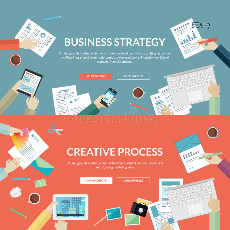 Satz flache Konzepte des Entwurfes für Geschäftsstrategie und kreativen Prozess vektor abbildung