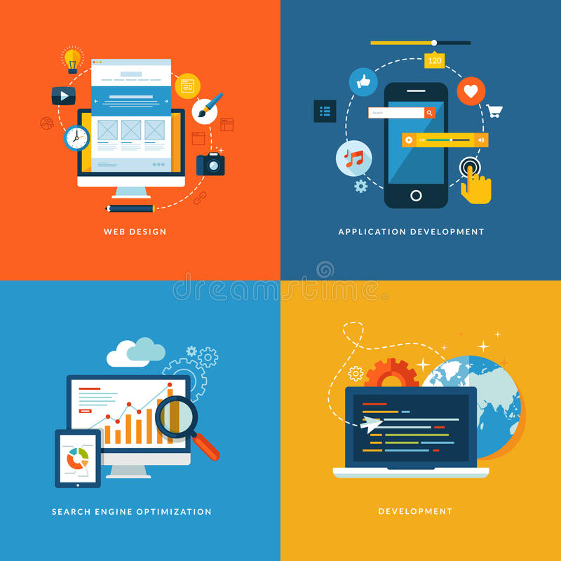 Satz flache Konzeptikonen für Web-Entwicklung lizenzfreie abbildung