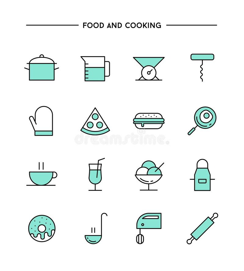 Satz flaches Design, dünne Linie Lebensmittel und kochen Ikonen vektor abbildung