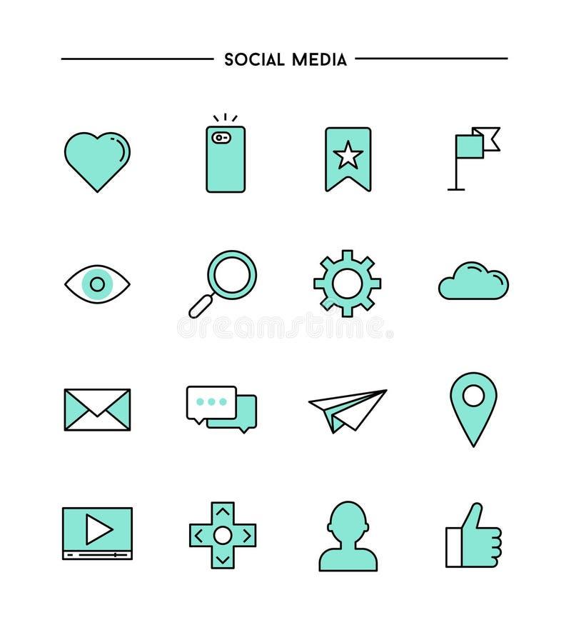 Satz flaches Design, dünne Linie Social Media-Ikonen lizenzfreie abbildung