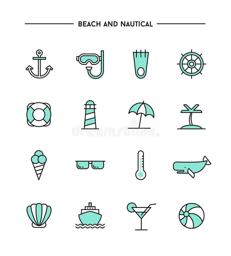 Satz flaches Design, dünne Linie Strand und Seeikonen vektor abbildung