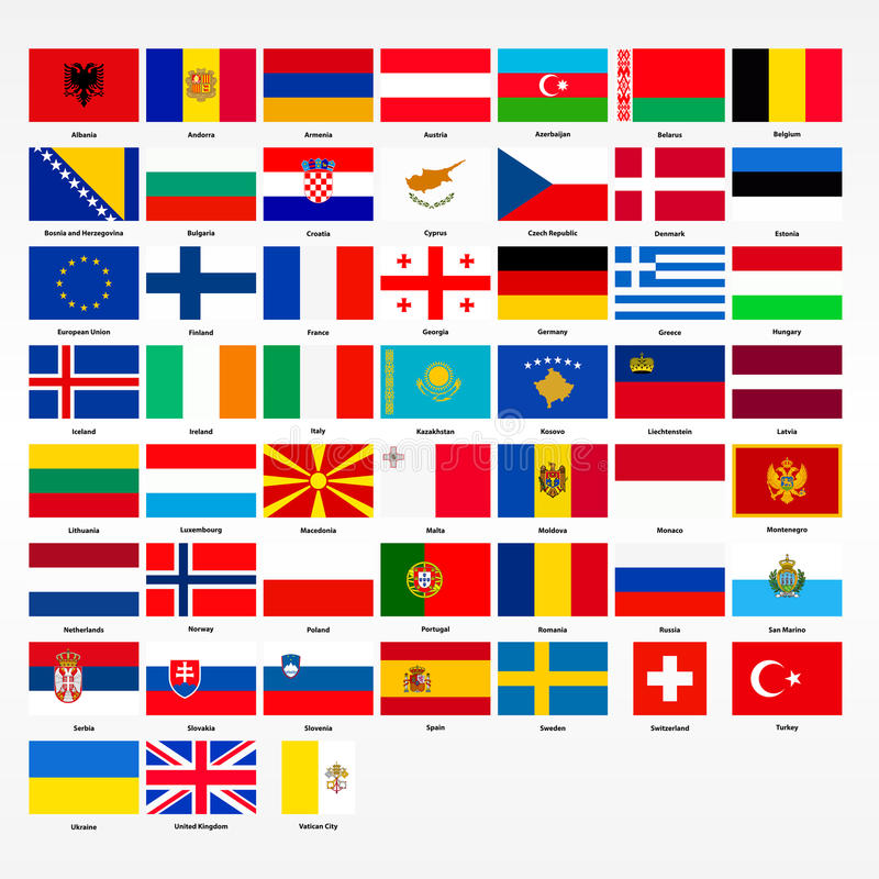 satz flaggen aller länder von europa vektor abbildung