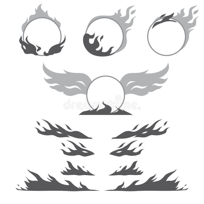 Satz Flammenformen für schaffen Firmenzeichen stock abbildung
