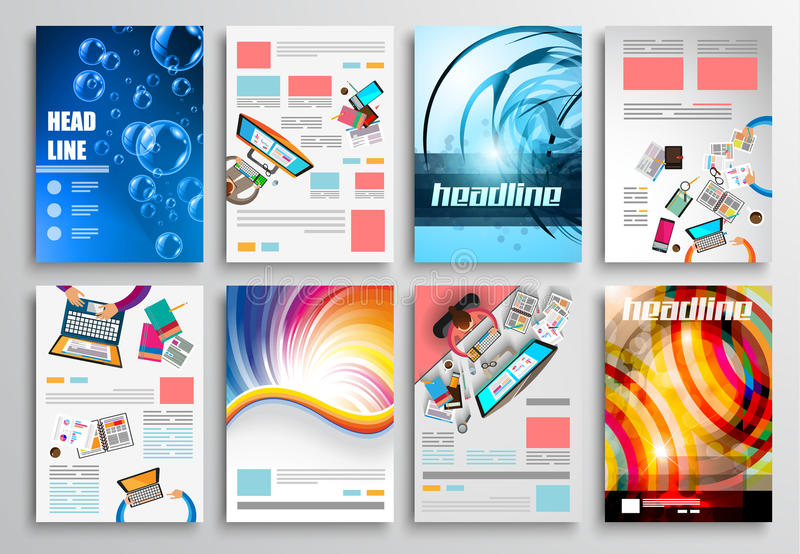 Satz Flieger-Design, Netz-Schablonen Broschüren-Designe, Technologie-Hintergründe vektor abbildung