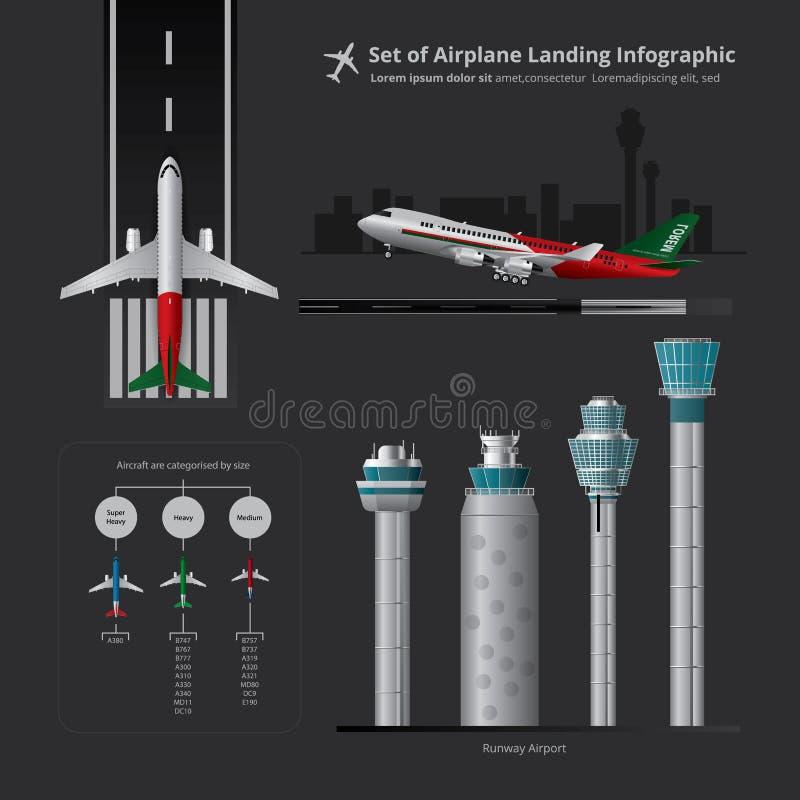 Satz Flugzeug-Landung Infographic mit dem Kontrollturm lokalisiert vektor abbildung