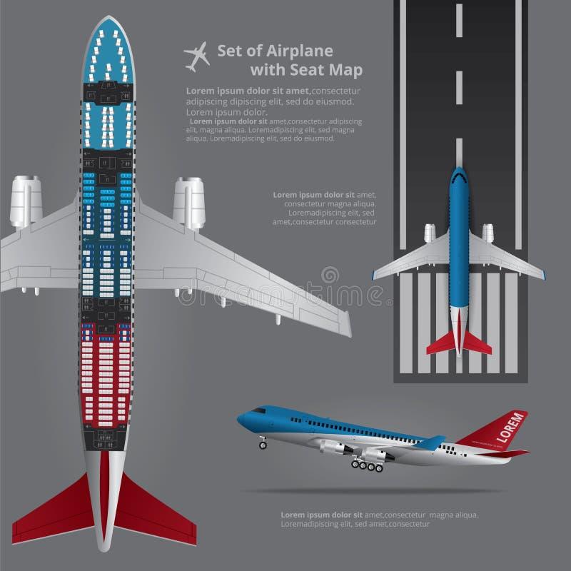 Satz Flugzeug-Landung mit Seat-Karte lizenzfreie abbildung