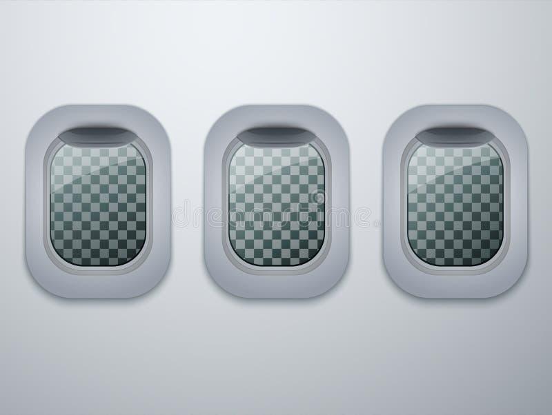 Satz Flugzeugfenster Flache Öffnungen lokalisiert Vektor stock abbildung