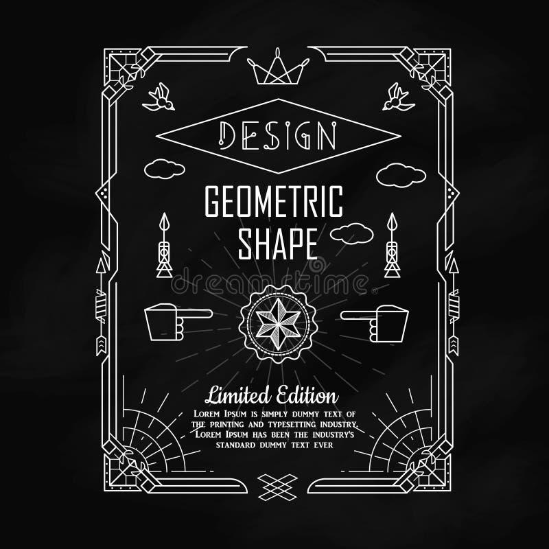 Satz Form-Grenzelemente der Weinlese geometrische mit Rahmenecke stock abbildung