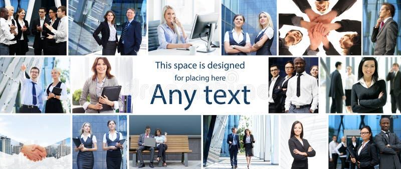 Satz Fotos über internationales Geschäft und Büroangestellte lizenzfreie stockfotografie