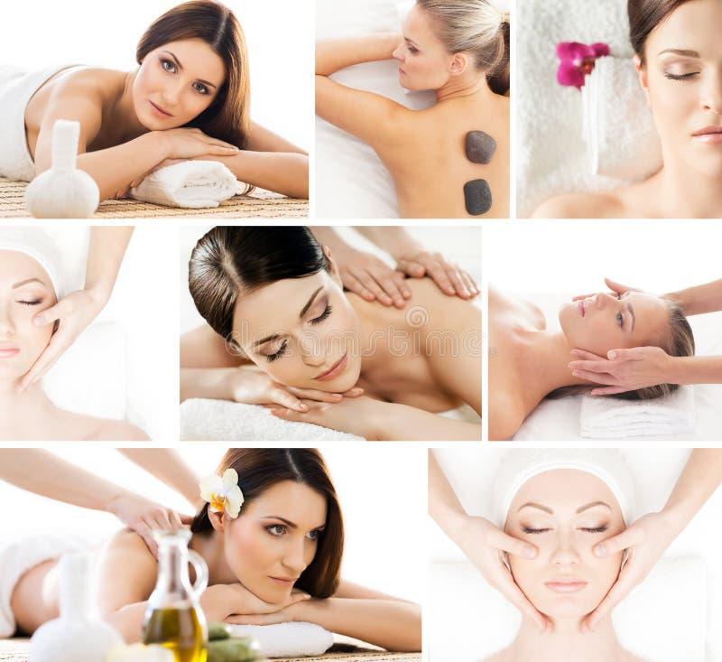 Satz Fotos mit den schönen, entspannten Frauen auf Badekurort lizenzfreie stockfotografie