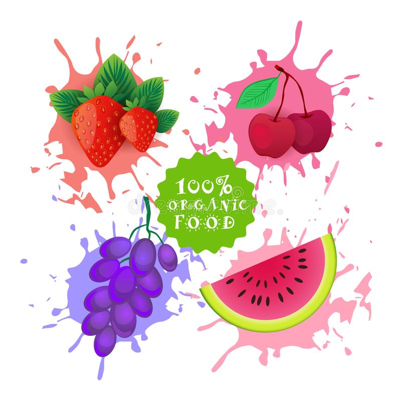 Satz Früchte über Farben-Spritzen-Hintergrund-neuem Juice Logo Natural Food Farm Products-Konzept vektor abbildung