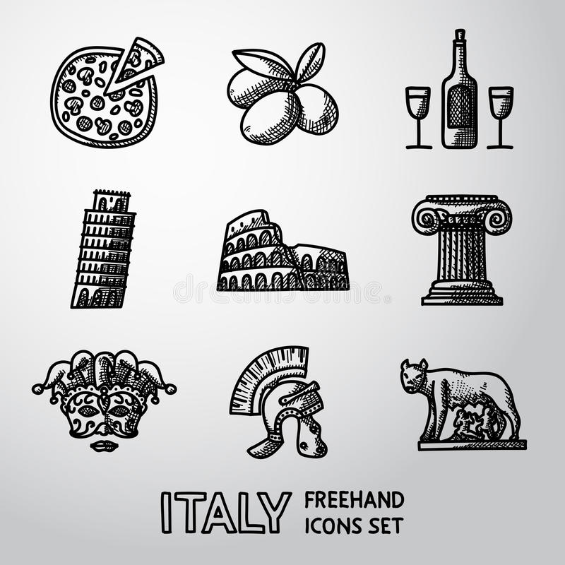 Satz freihändige Ikonen Italiens - Pizza, Oliven, Wein lizenzfreie abbildung
