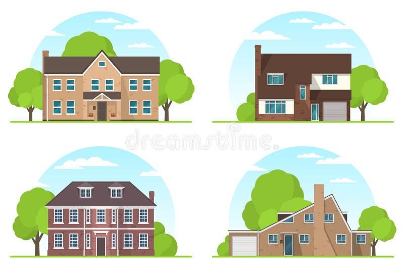 Satz frontview von Vorstadtprivathäusern der englischen Art flach stock abbildung