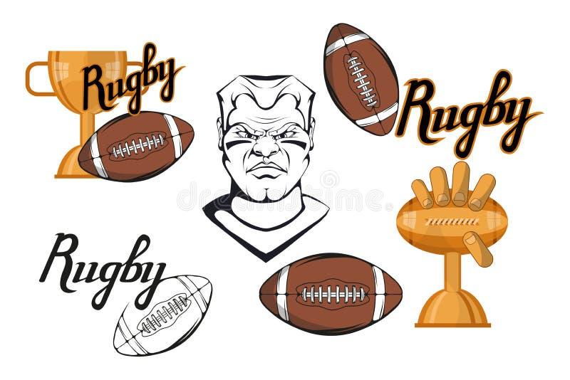 Satz Fußballspielergestaltungselemente Hand gezeichneter Rugbyspieler Karikaturfußballspieler Stellen Sie für Fußballkonzept ein  stock abbildung