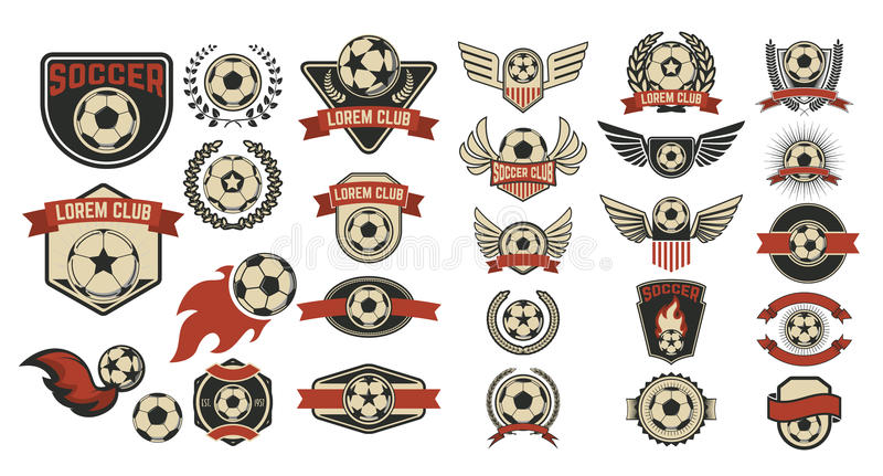 Satz Fußballvereinaufkleber lizenzfreie abbildung