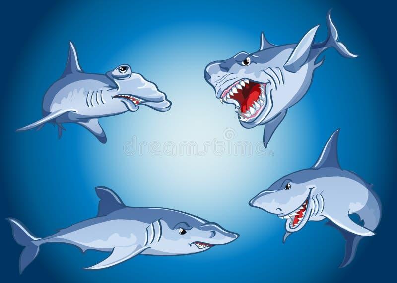 Satz furchtsame Haifische in der Karikaturart lizenzfreie abbildung