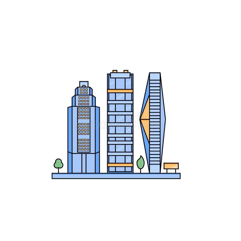Satz futuristische Wolkenkratzer in der flachen Linie Art stockfotos