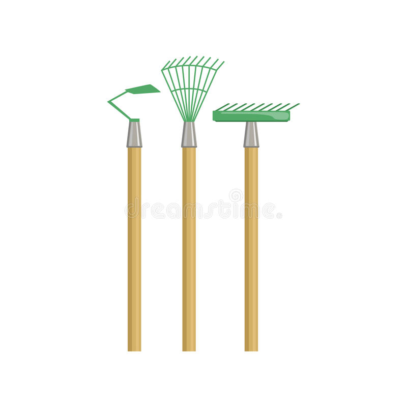 Satz Gartenarbeit-Ausrüstung mit Rührstange und Zerhacker vektor abbildung
