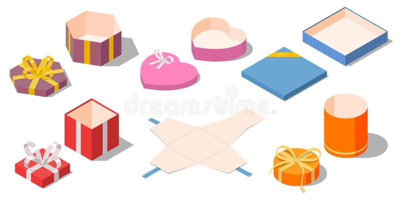 Satz geöffnete verschiedene Geschenke und Geschenkkästen stock abbildung