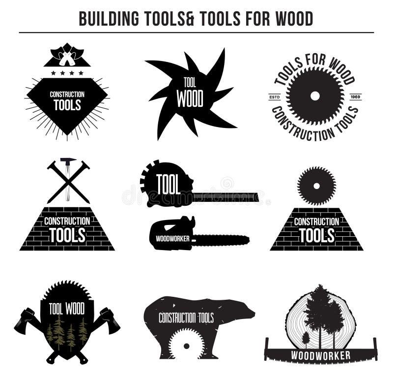 Satz Gebäudewerkzeuge und Werkzeuge für Holz und Logoausweise, Aufkleber lizenzfreie abbildung