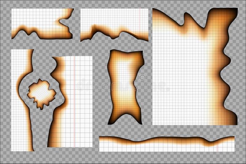 Satz gebrannte Blätter vom Schreibheft vektor abbildung