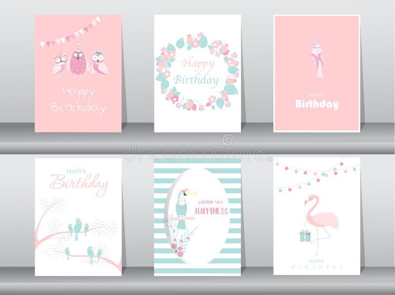 Satz Geburtstagseinladungskarten, Plakat, Gruß, Schablone, Vogel, Eule, Flamingo, Vektorillustrationen lizenzfreie abbildung