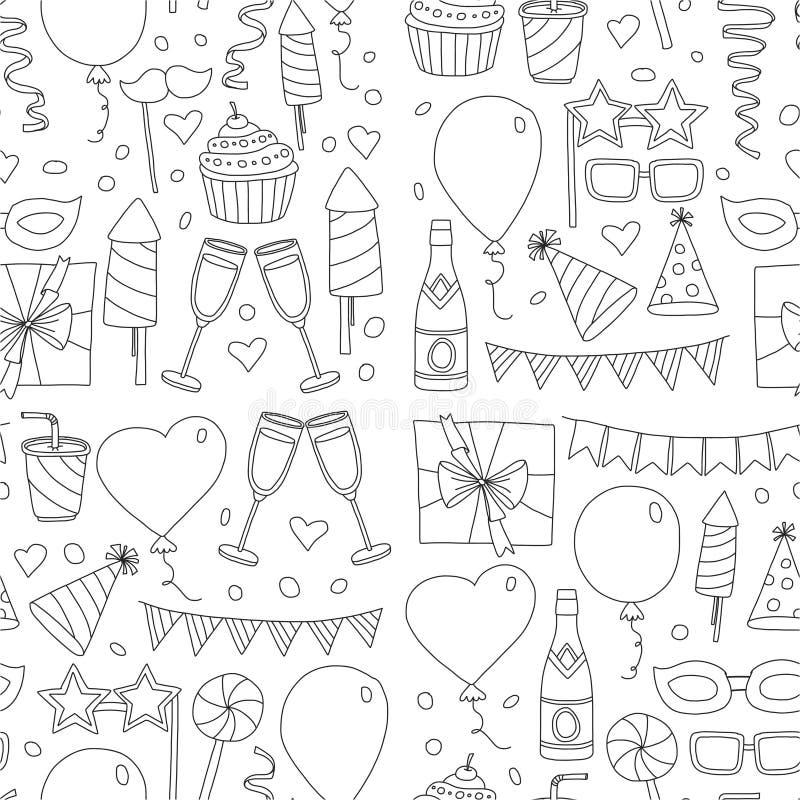Satz Geburtstagsfeiergestaltungselemente Familie mit Großvater, Großmutter, Vater, Mutter, Sohn, daugther und Schätzchen Kritzeln lizenzfreie abbildung