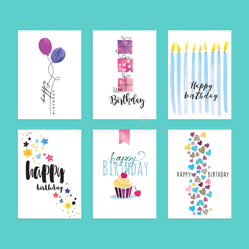 Satz Geburtstagsgrußkartenschablonen lizenzfreie abbildung