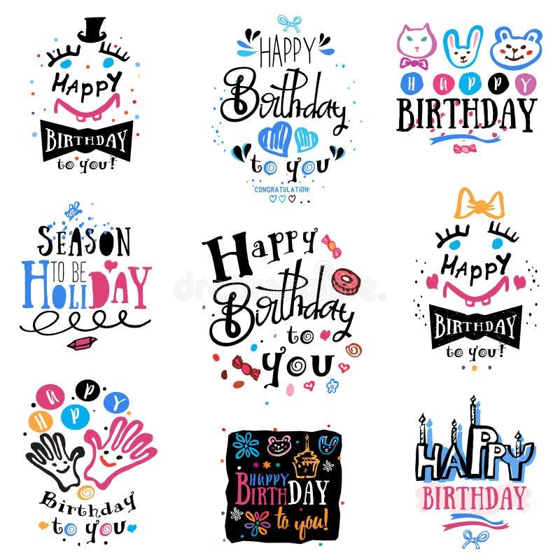 Satz Geburtstagslogo, -aufkleber und -illustrationen lizenzfreie abbildung